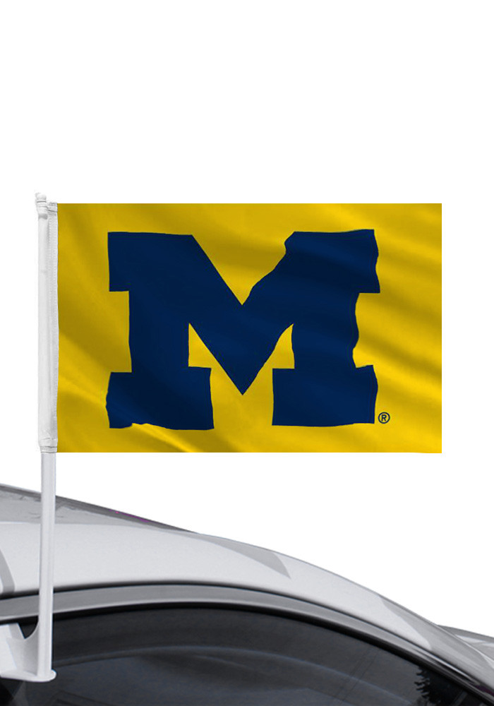 Michigan Wolverines 11x16 Gold Car Flag - Image 1