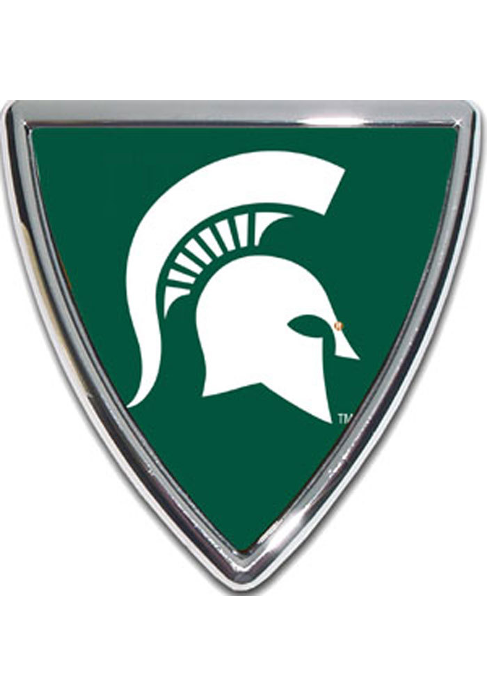 Michigan State Spartans Domed Shield Car Emblem - Silver