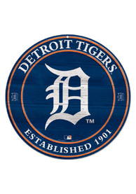Detroit Tigers Round Wood Sign