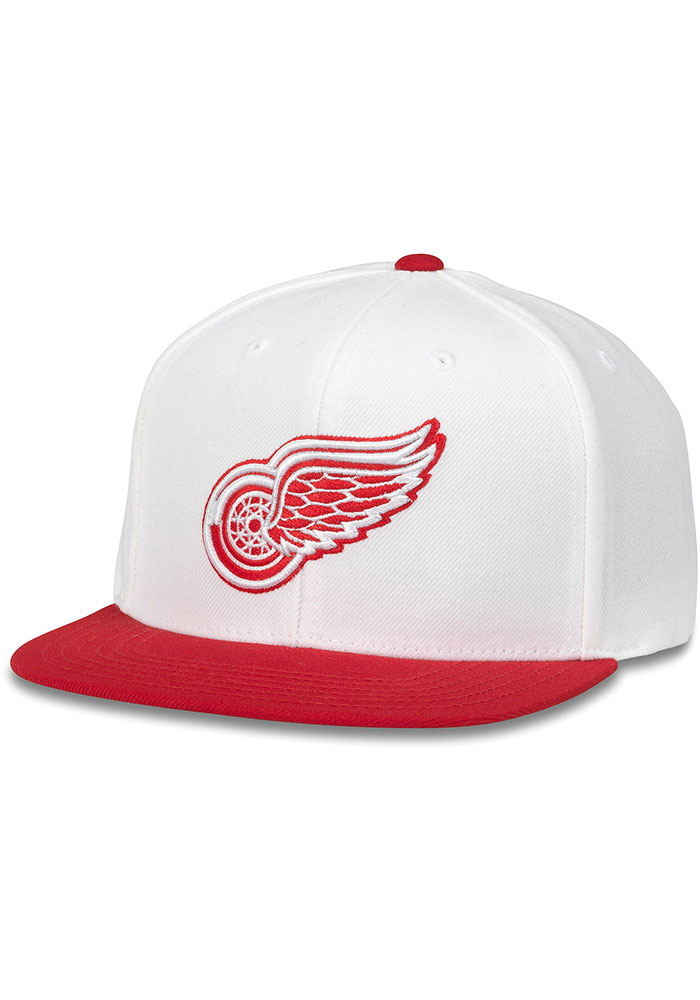 Detroit Red Wings White White Out Mens Snapback Hat - Image 1