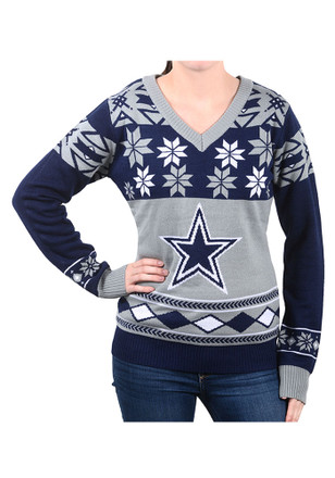 Cowboys Womens Navy Blue Big Logo Ugly Sweater