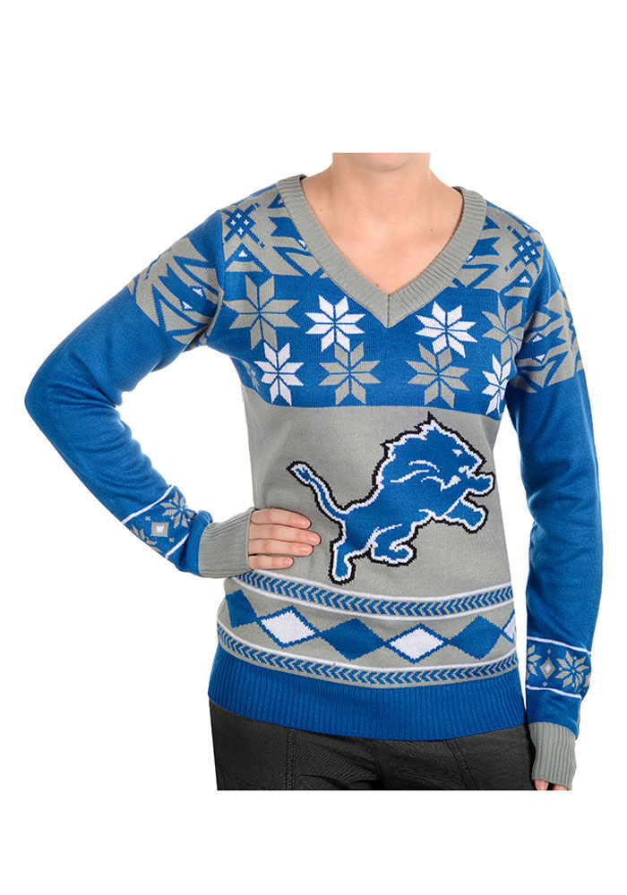 Detroit Lions Womens Blue Big Logo Ugly Long Sleeve Sweater - Image 1