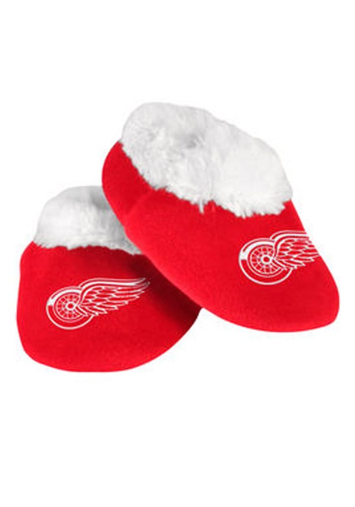 Detroit Red Wings Fuzzy Baby Slippers - Image 1