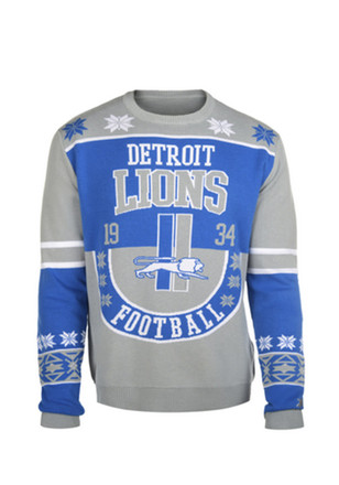 Detroit Lions Mens Grey Ugly Retro Sweater