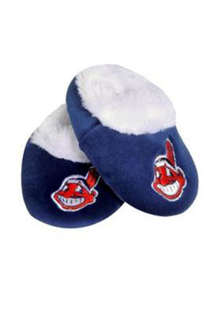 Cleveland Indians Fuzzy Baby Slippers - Image 1