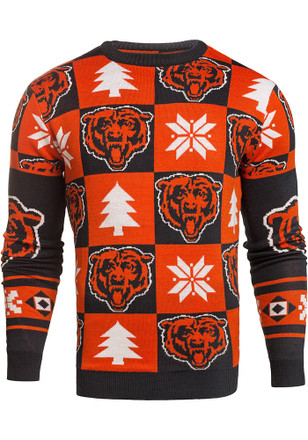 Chicago Bears Mens Navy Blue Patches Ugly Crew Neck Sweater