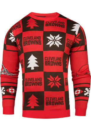 Cleveland Browns Mens Red Patches Ugly Crew Neck Sweater