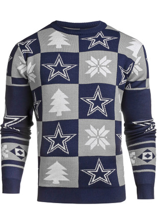 Dallas Cowboys Mens Blue Patches Ugly Crew Neck Sweater