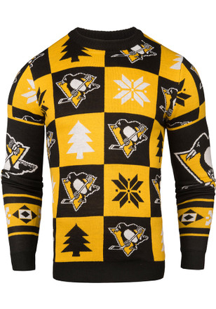 Pittsburgh Penguins Mens Black Patches Ugly Crew Neck Sweater