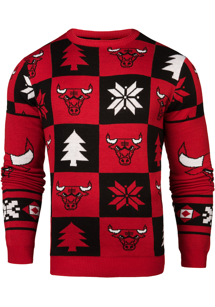 Chicago Bulls Mens Red Patches Ugly Crew Neck Long Sleeve Sweater - Image 1