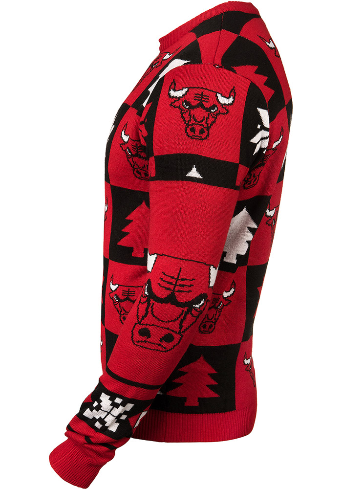 Chicago Bulls Mens Red Patches Ugly Crew Neck Long Sleeve Sweater - Image 2