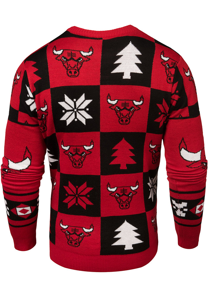Chicago Bulls Mens Red Patches Ugly Crew Neck Long Sleeve Sweater - Image 3