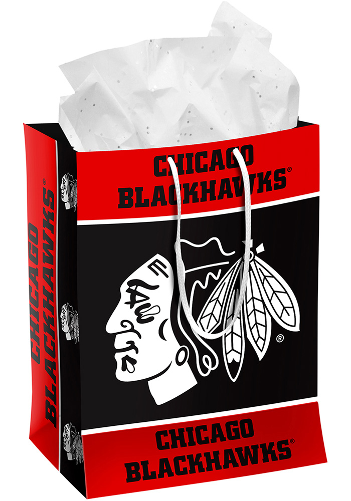 Chicago Blackhawks Team Color Medium Black Gift Bag - Image 1