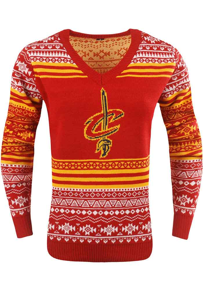 Cleveland Cavaliers Womens Red Big Logo Aztec Long Sleeve Sweater - Image 1