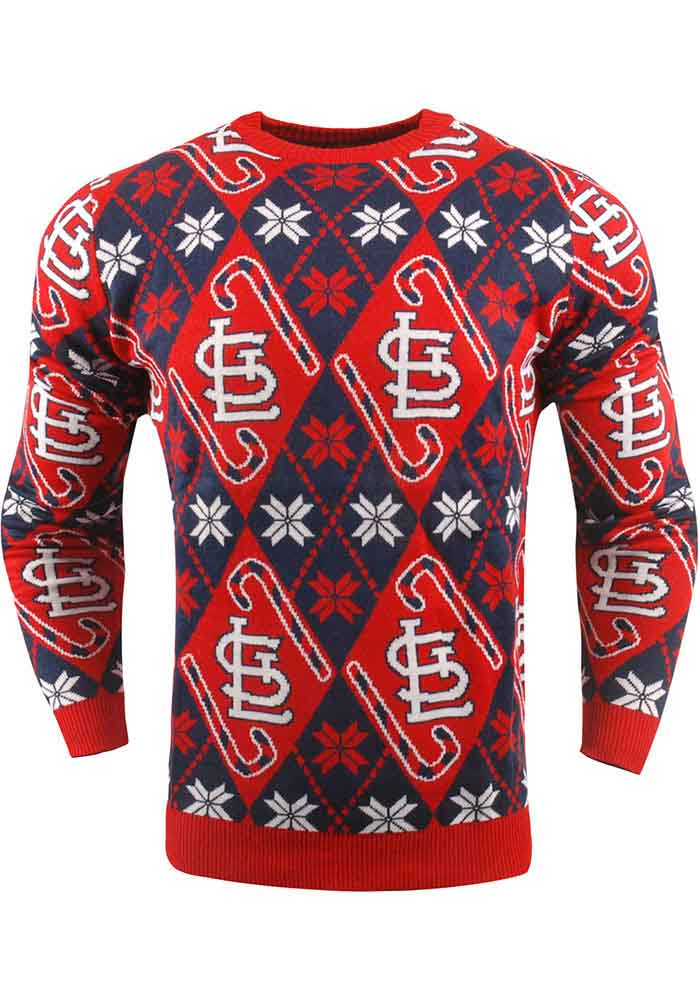 St Louis Cardinals Mens Red Candy Cane Sweatshirt