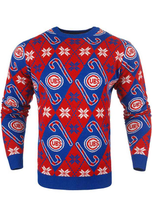 Chicago Cubs Mens Blue Candy Cane Sweatshirt