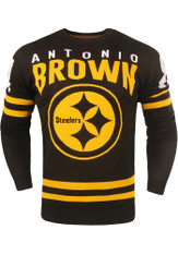 da021232201 Antonio Brown Forever Collectibles Pittsburgh Steelers Black NN Sweater