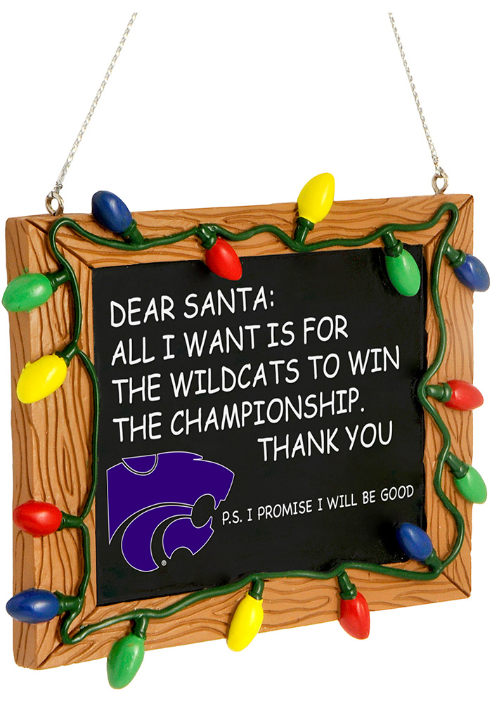 K-State Wildcats Chalkboard Sign Ornament - Image 1