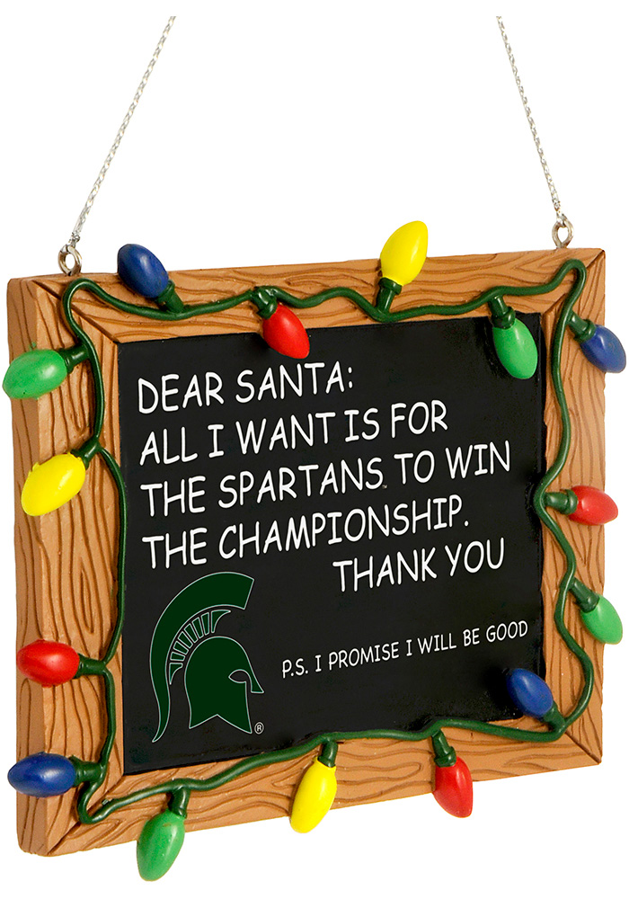 Michigan State Spartans Chalkboard Sign Ornament - Image 1