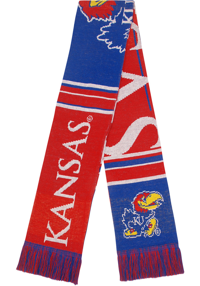 Kansas Jayhawks Two Sided Color Block Mens Scarf - Image 1