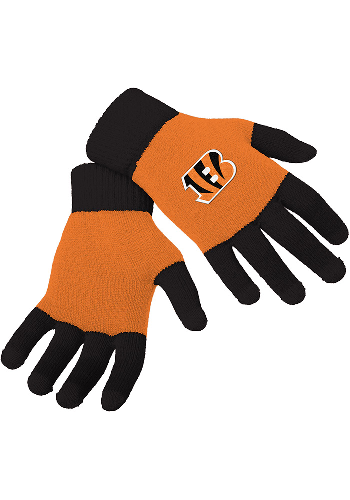 Cincinnati Bengals Knit Color Block Mens Gloves - Image 1