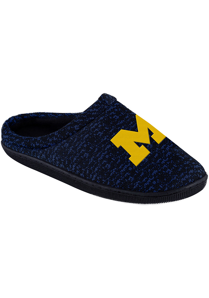 Michigan Wolverines Poly Knit Cup Sole Mens Slippers - Image 1