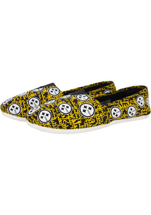 Pittsburgh Steelers Yellow Script Canvas Womens Shoes