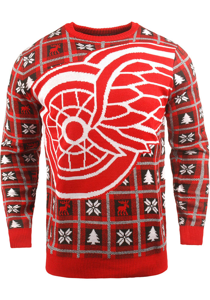 Detroit Red Wings Mens Red Big Logo Long Sleeve Sweater - Image 1