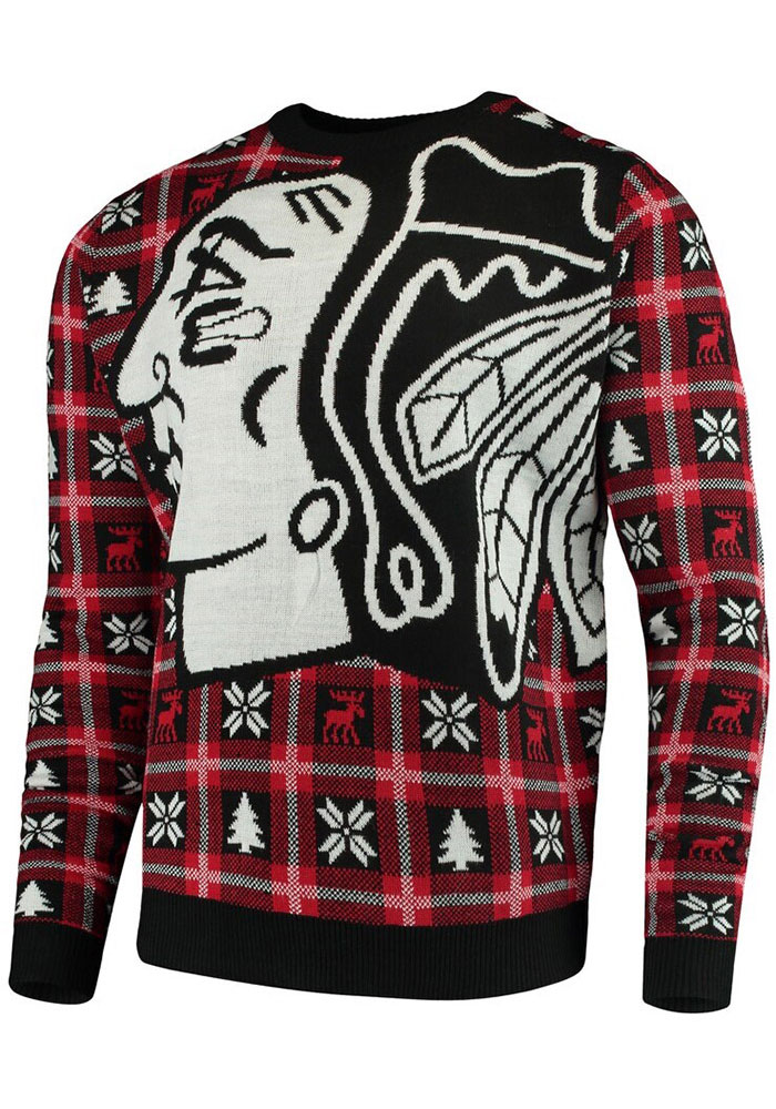 Chicago Blackhawks Mens Red Big Logo Long Sleeve Sweater - Image 1