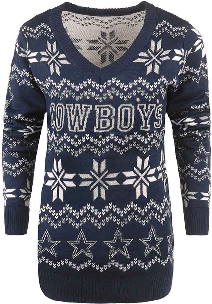 quality design 3b64a 0a12b Dallas Cowboys Womens Blue Light Up Vneck Bluetooth Sweater Long Sleeve  Sweater
