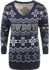 Dallas Cowboys Womens Light Up Vneck Bluetooth Sweater Sweater - Blue