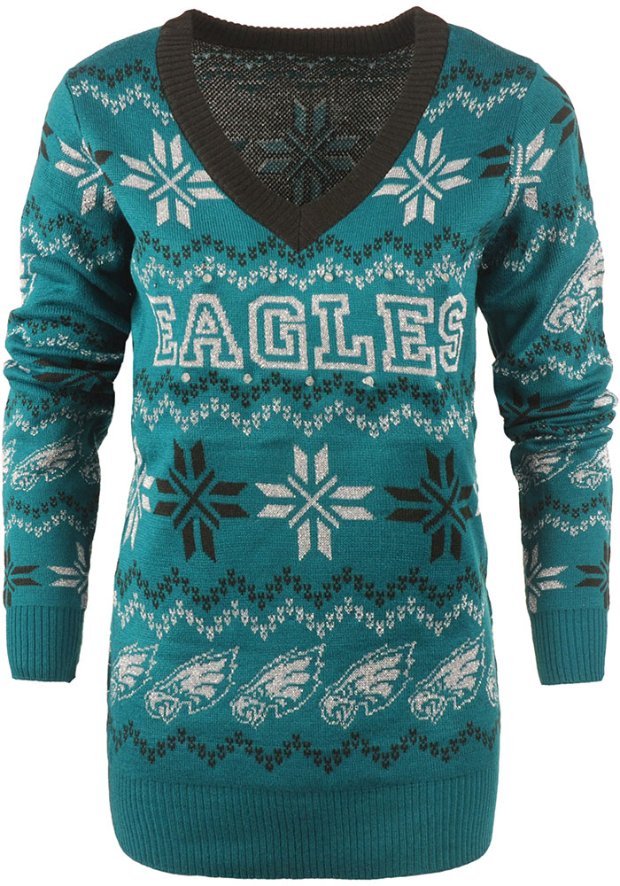 Philadelphia Eagles Womens Midnight Green Light Up Vneck Bluetooth Sweater Long Sleeve Sweater - Image 1