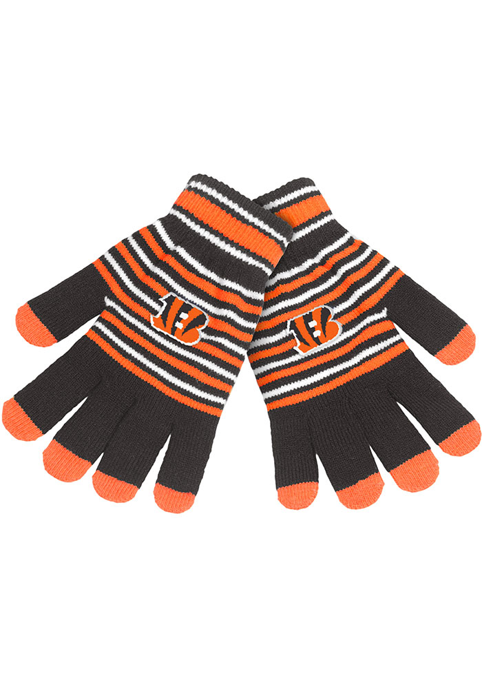Cincinnati Bengals Stripe Knit Mens Gloves - Image 1