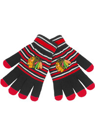 Chicago Blackhawks Stripe Knit Gloves - Red