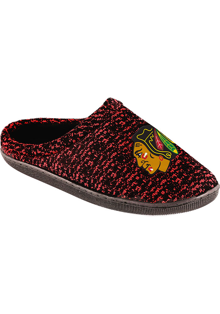 Chicago Blackhawks Poly Knit Mens Slippers - Image 1