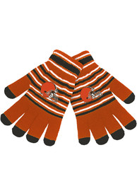 Cleveland Browns Acrylic Stripe Knit Gloves - Brown