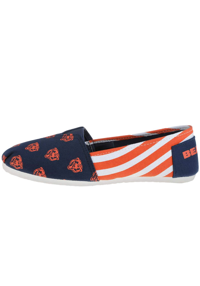 Chicago Bears Navy Blue Stripe Canvas Womens Shoes - Image 1
