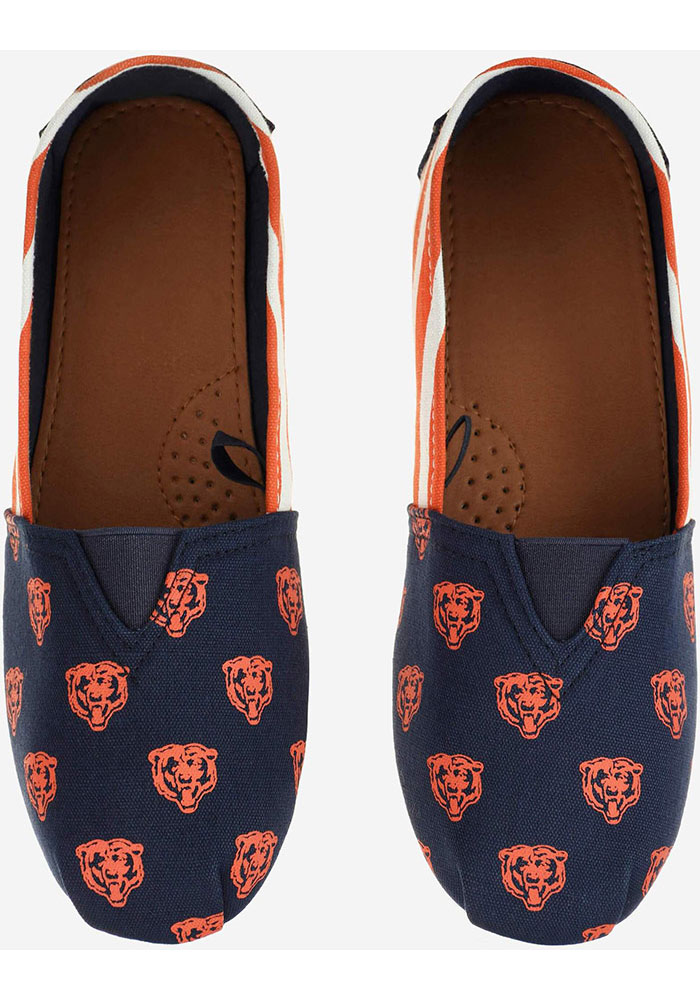 Chicago Bears Navy Blue Stripe Canvas Womens Shoes - Image 2