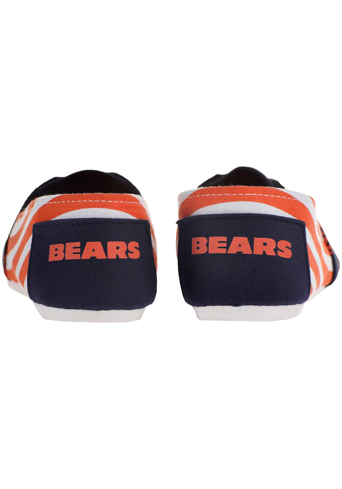 Chicago Bears Navy Blue Stripe Canvas Womens Shoes - Image 3