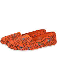 Cleveland Browns Womens Script Canvas Shoes - Brown