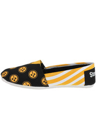 Pittsburgh Steelers Womens Stripe Canvas Shoes - Black