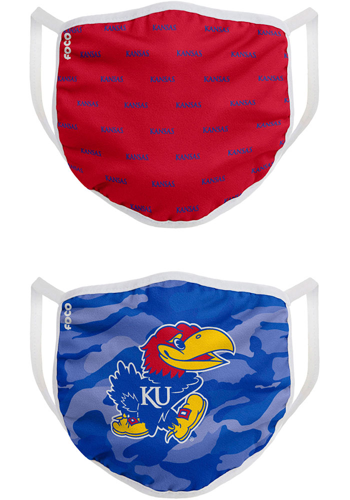Kansas Jayhawks Clutch 2pk Fan Mask - Blue