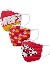 Kansas City Chiefs Gametime 3pk Fan Mask - Red