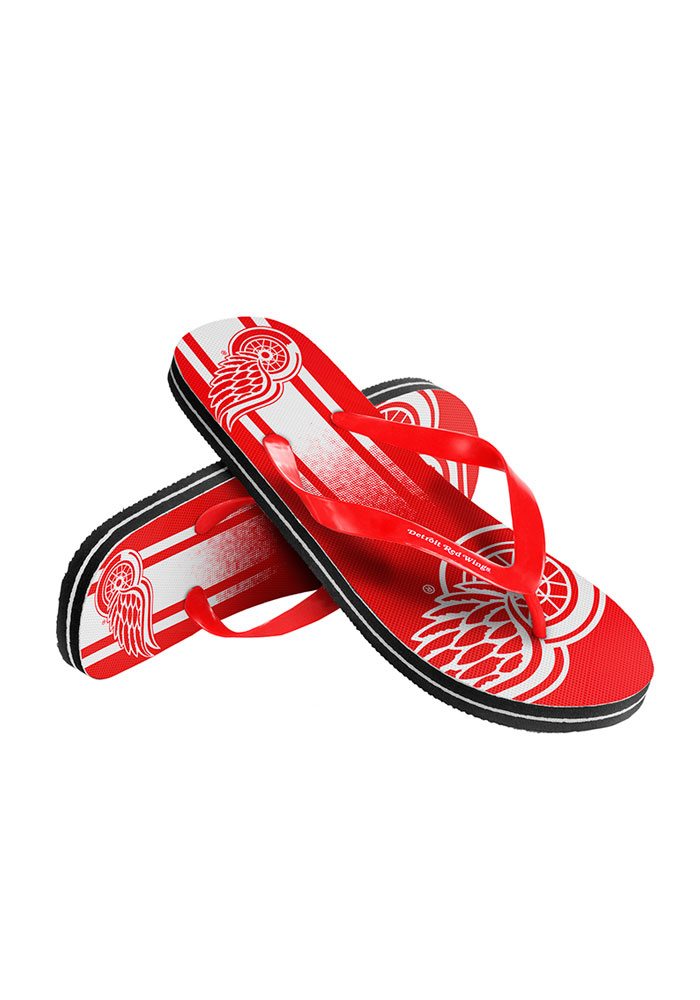Detroit Red Wings Big Logo Mens Flip Flops - Image 1