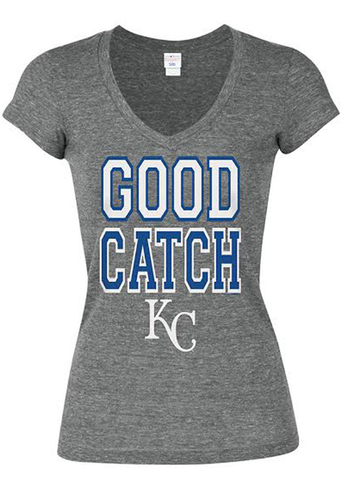 Kansas City Royals Womens Grey Tri-Blend Good Catch V-Neck T-Shirt - Image 1