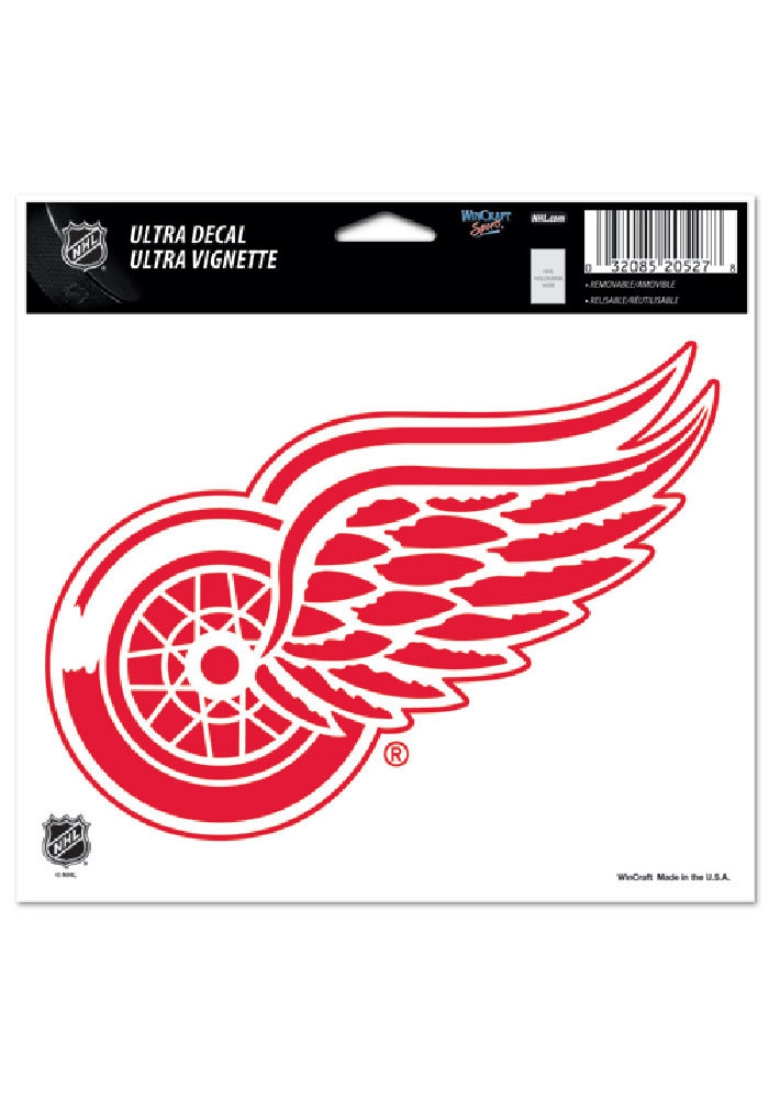Detroit Red Wings 5x6 Logo Auto Decal - Red - Image 1