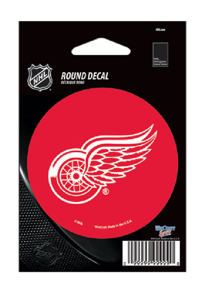 Detroit Red Wings 3x3 Round Auto Decal - Red - Image 1