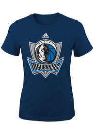 Dallas Mavericks Girls Navy Blue Primary Logo T-Shirt