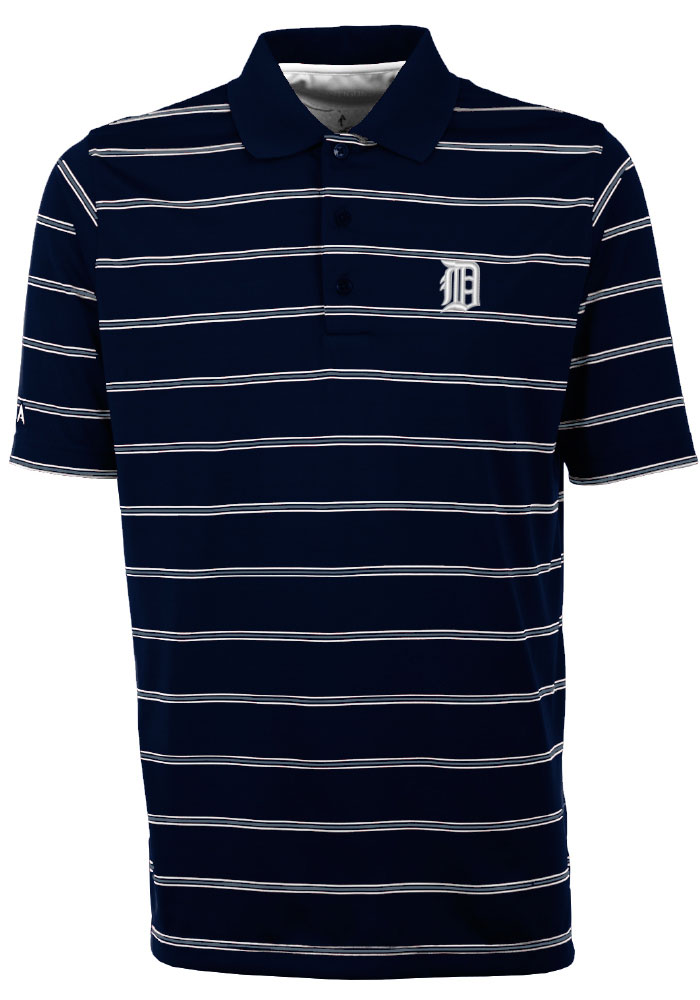Antigua Detroit Tigers Mens Navy Blue Deluxe Short Sleeve Polo - Image 1
