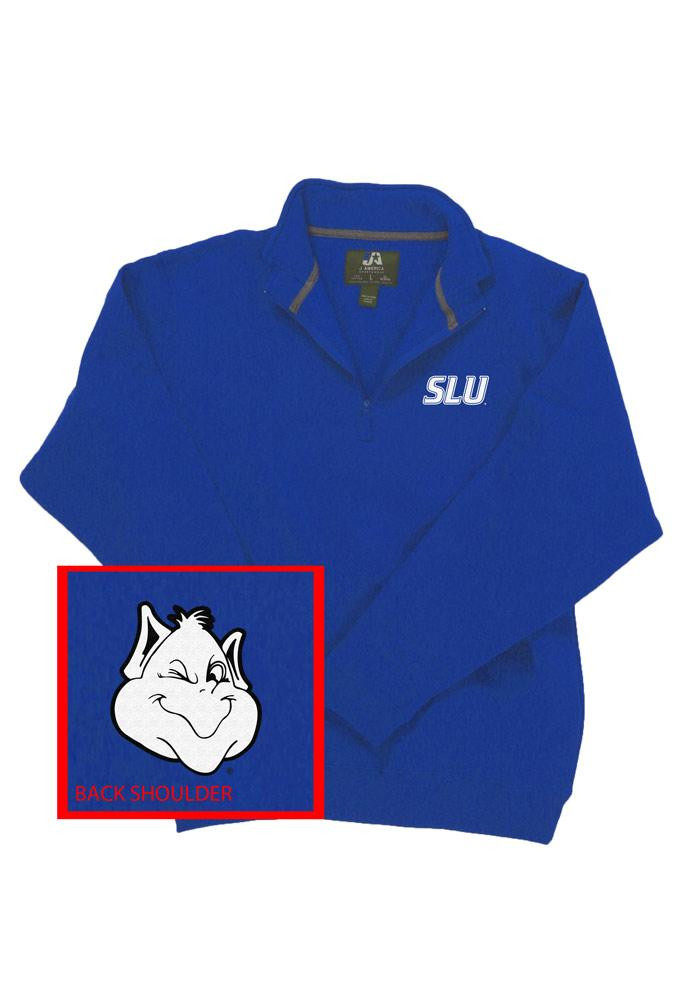 Saint Louis Billikens Mens Blue Mascot Long Sleeve 1/4 Zip Pullover - Image 1